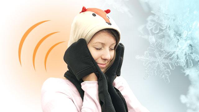 Hoodscarf|可愛いキツネのファッショナブルなフード付きスカーフ。