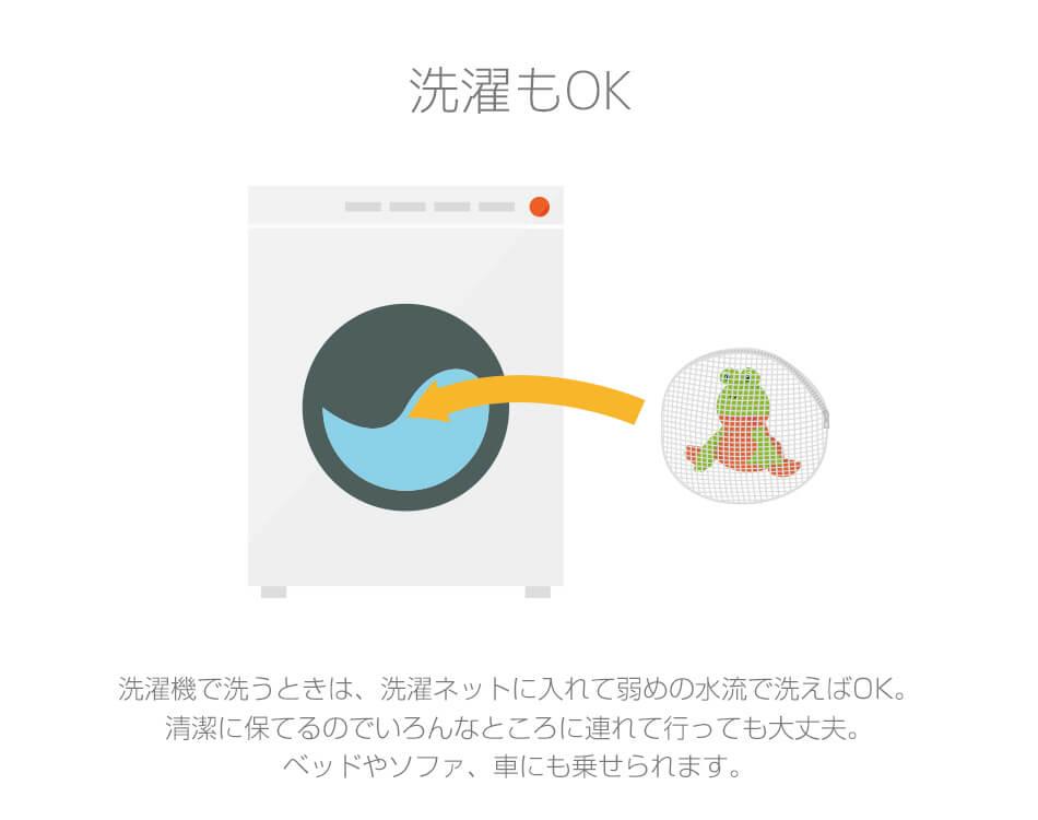 洗濯機で洗うときは、洗濯ネットに入れて弱めの水流で洗えばOK。清潔に保てるのでいろんなところに連れて行っても大丈夫。ベッドやソファ、車にも乗せられます。